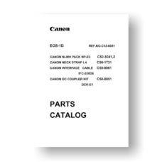 38-page PDF 728 KB download for the Canon EOS-1 D Parts Catalog | DSLR