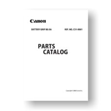 Canon Battery Grip BG-E6 Parts List Download