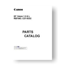 Canon EF 14 2.8 L Parts Catalog Download