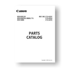 Canon C12-6233 Parts Catalog | Rebel T1i | EOS 500D | Kiss X3