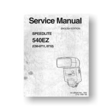 Canon Speedlite 540EZ Service Manual Parts Catalog Download