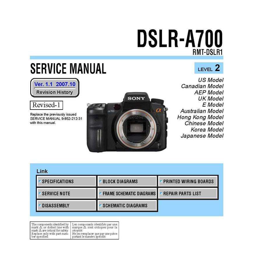 sony dslr a700 service manual parts list download uscamera parts rh uscamera com Sony A900 sony alpha 700 service manual