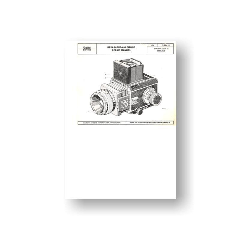 66-page PDF 4.16 MB download for the RolleiFlex SL66 Repair Manual Parts List |  SLR Film Cameras