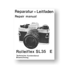68-page PDF 16 MB download for the Rolleiflex SL35E Repair Manual Parts List | 35mm Film Cameras