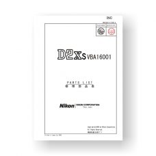 52-page PDF 2.12 MB download for the Nikon D2XS Parts List | Digital SLR