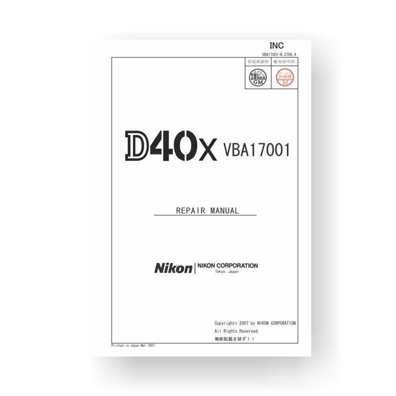 Nikon D40X Repair Parts List Download