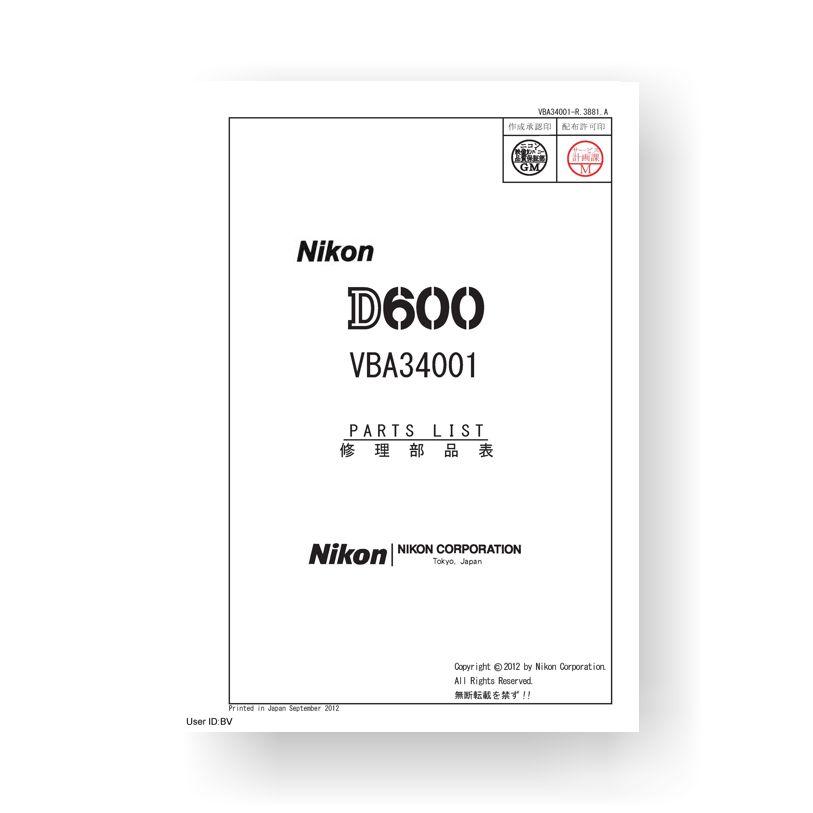 Nikon D600 Parts List Download