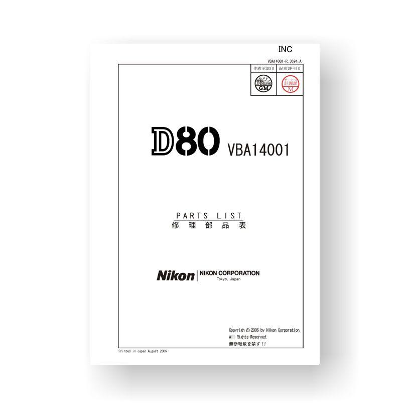 Nikon D80 Parts List Download