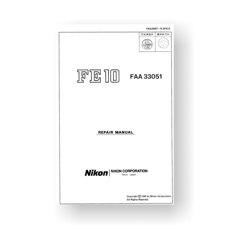 56-page PDF 2.77 MB download for the Nikon FE10 Repair Manual | Film Cameras