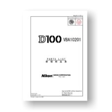 Nikon D100 Parts List Download