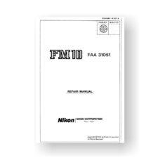 40-page PDF 1.5 MB download for the Nikon FM10 Repair Manual Parts List | Film Cameras