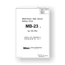 Nikon MB23 Parts List