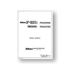 58-page PDF  2.49 MB download for the Nikon N8008s Repair Manual Parts List | SLR Film Camera