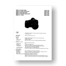 Minolta 2092 Service Manual Parts List | Maxxum 400Si | 500Si