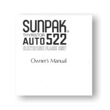 Sunpak Auto 522 Flash Unit Owners Manual Download