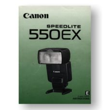 Canon Speedlite 550EX Owners Manual Download