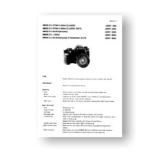 Minolta 2097 Service Manual Parts List | Maxxum 600si