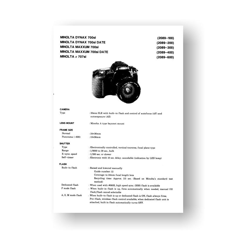 Minolta Maxxum 700si Service Manual Parts List Download