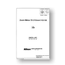 Nikon Nikkor 70-210 4.5-5.6 AIS Parts List Download
