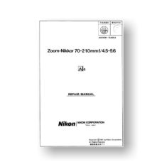 Nikon Nikkor 70-210 4.5-5.6 AIS Parts Service Manual List Download