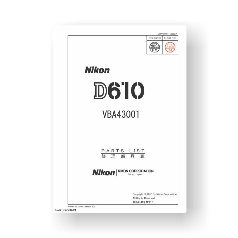 Nikon D610 Parts List Download
