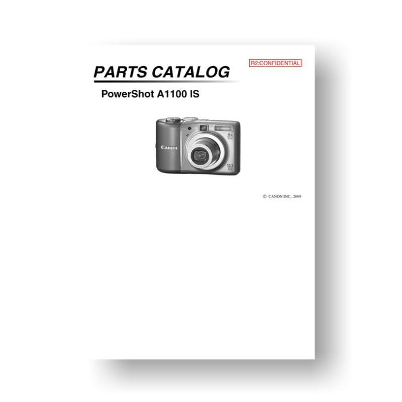 20-page PDF 771 KB download for the Canon A1100-IS Parts Catalog | Powershot