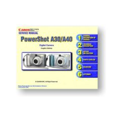 95 page PDF 2.41 MB download for the Canon A30-A40 Service Manual Parts Catalog