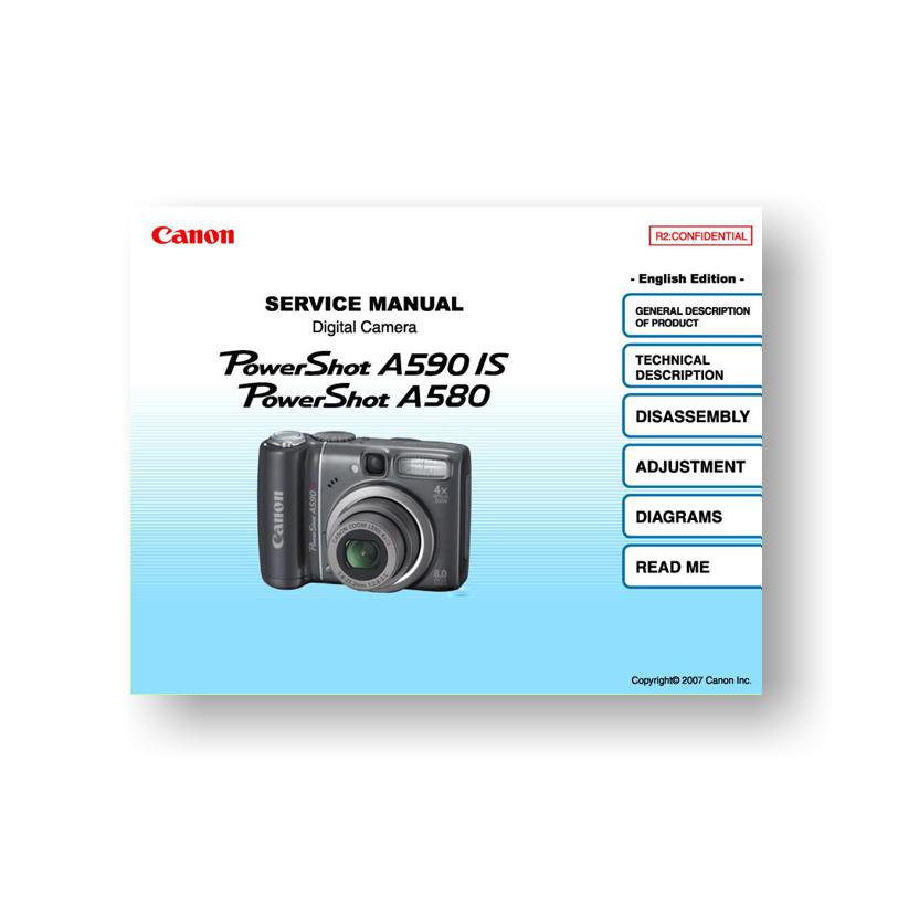 Canon Powershot A580 A590 Is Service Manual Parts List Downloaduscamera