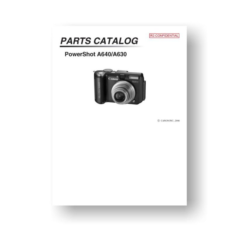 27-page PDF 1.17 MB download for the Canon A630-A640 Parts Catalog | Powershot Digital