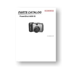 27-page PDF 1.04 MB download for the Canon A650IS Parts Catalog