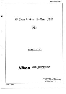 Nikon Nikkor AF 35-70 2.8 D Parts List Download (AF3570-28D-SMPL)