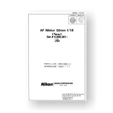 Nikon JAA00903 Repair Manual Nikkor AF 50 1.8 AIS