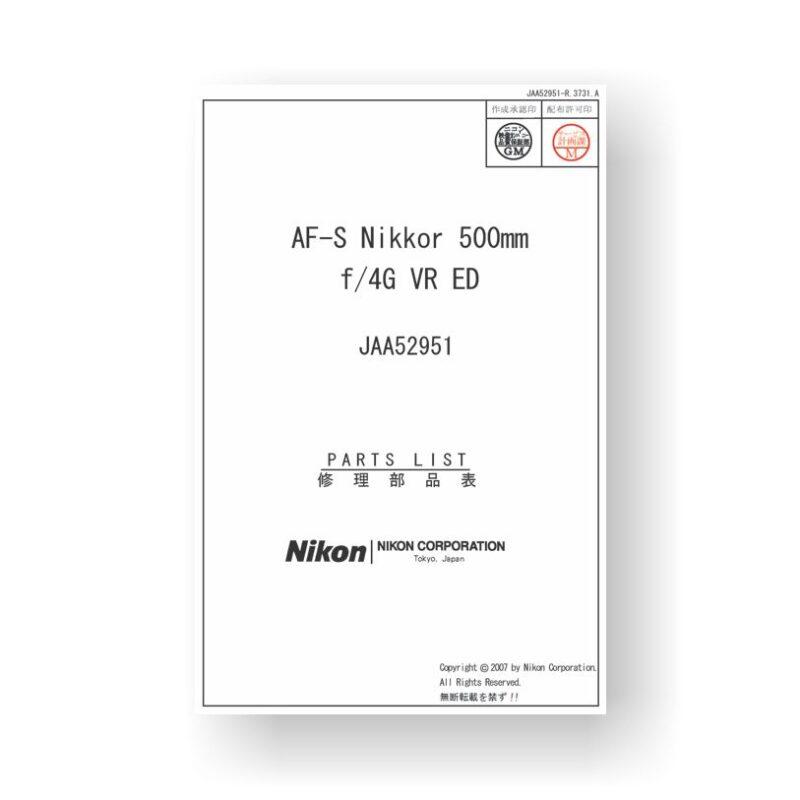 Nikkor JAA52951 Parts List | Nikon AF-S 500 4 G VR ED