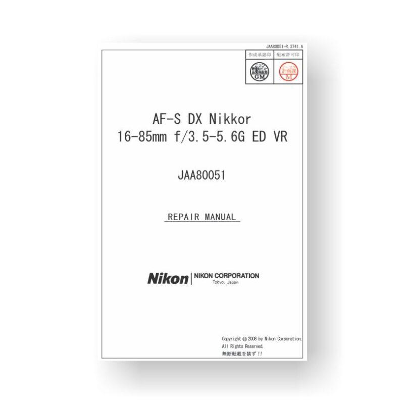 155-page PDF 8.13 MB download for the Nikon 80051 Repair Manual | AF-S DX 16-85 3.5-5.6 G ED VR