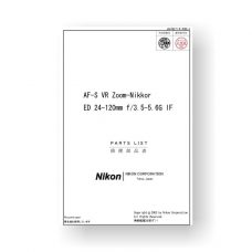 13-page PDF 667 KB download for the Nikkor JAA78271 Parts List | AF-S VR ED 24-120 3.5-5.6 G IF
