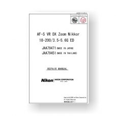 Nikon JAA79471 Repair Manual AF-S VR DX 18-200 3.5-5.6 G ED