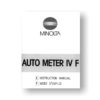 Minolta Auto Meter IV F Owners Manual Download