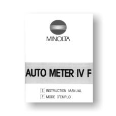 Minolta Auto Meter IV F Owners Manual Download