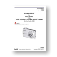 Kodak C813 Service Manual Parts List | Easyshare C813