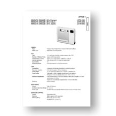 Minolta 2776 Service Manual Parts List | Dimage X
