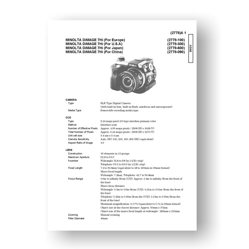 Konica Camera repair manual