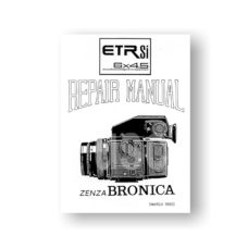 Bronica ETR Si 645 Camera Body Service Manual Parts List Download