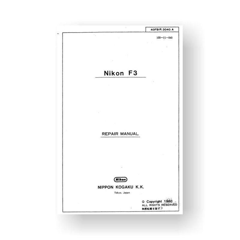 415-page PDF 13.5 MB download for the Nikon F3 Repair Manual Parts List | Film Cameras