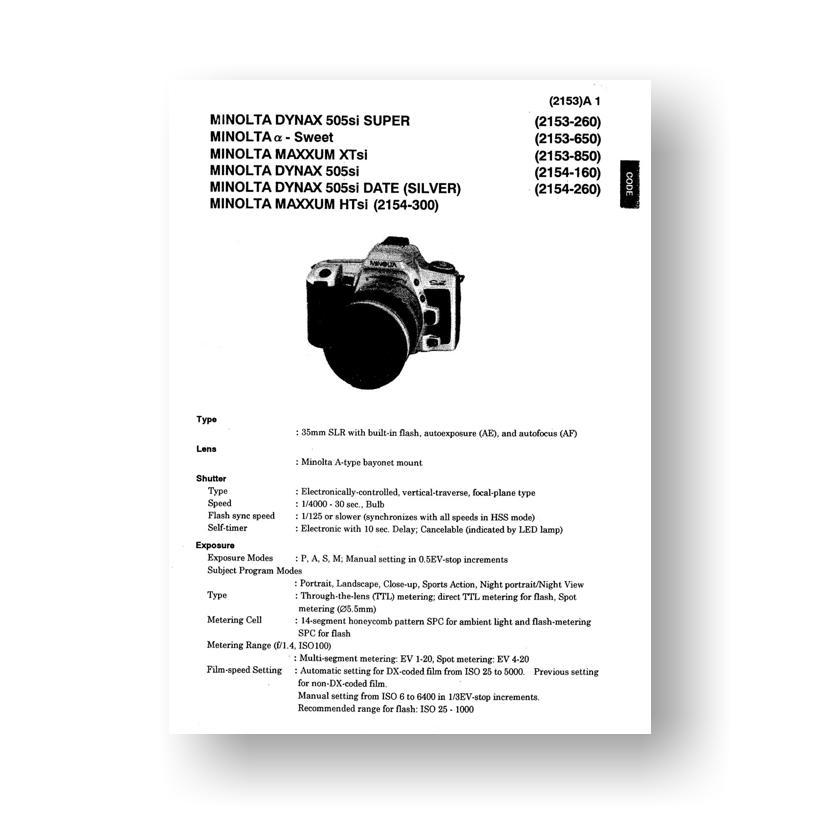 minolta maxxum htsi xtsi service manual parts list download rh uscamera com
