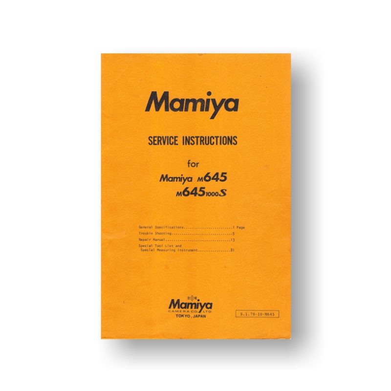 129 page PDF 7.35 MB download for the Mamiya M645 Service Parts Download