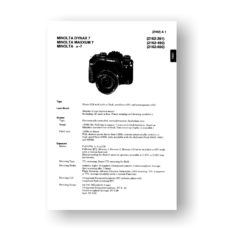Minolta 2062 Service Manual Parts List   Maxxum 7