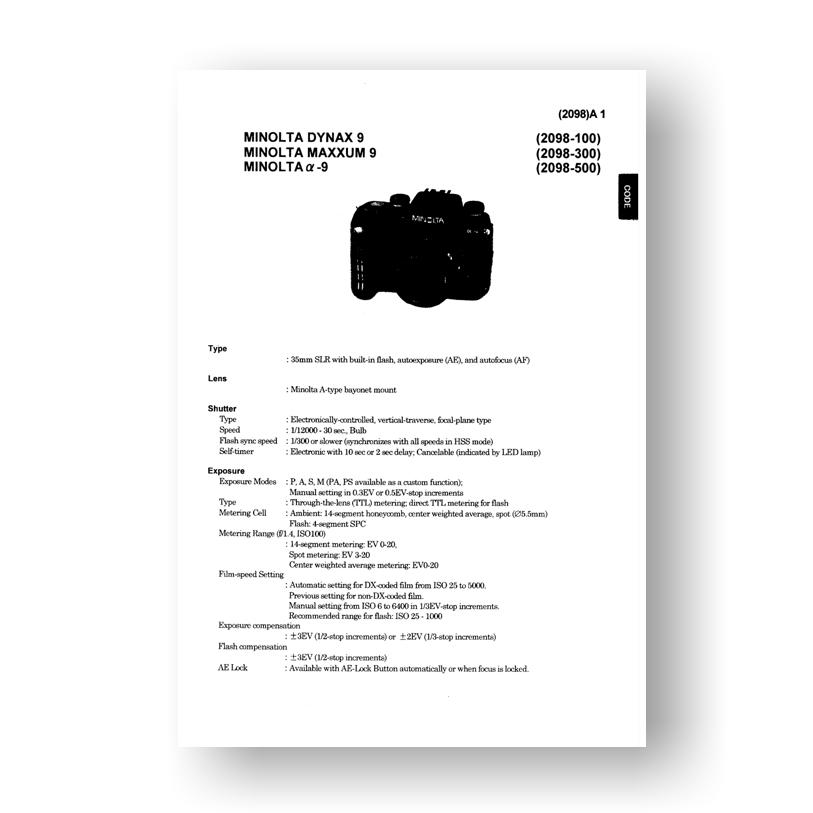 minolta maxxum 9 service manual parts list downloaduscamera rh uscamera com Canon 7D Rumors Canon 7D Rumors