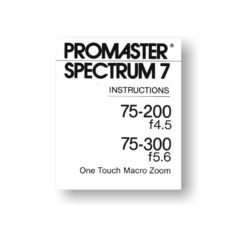 Promaster 75-200 4.5-5.6 Owners Manual Download
