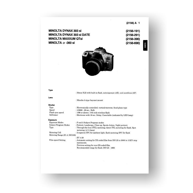Minolta Maxxum Qtsi Service Manual Parts List Download border=