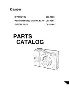 Canon PowerShot S100 Service Manual Parts List Download